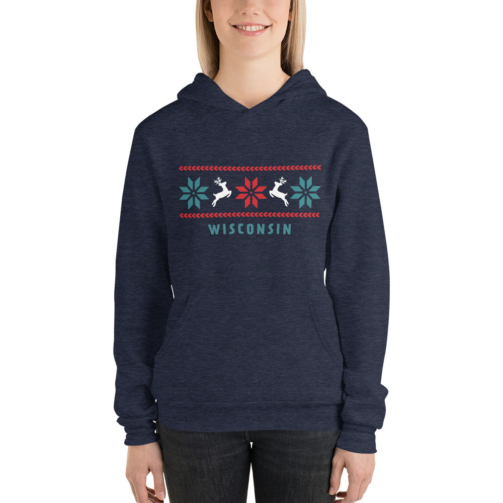 Model wearing Heather Navy unisex hoodie with Reindeer Wisconsin design