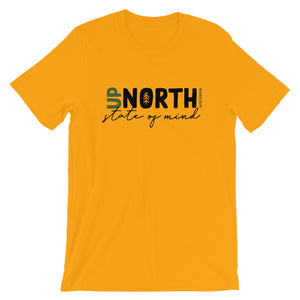 Gold unisex short sleeve t-shirt with up North Wisconsin design with script state of mind