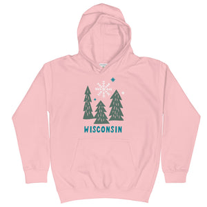 Snowy Wisconsin Trees Kids Hoodie | 4 color options