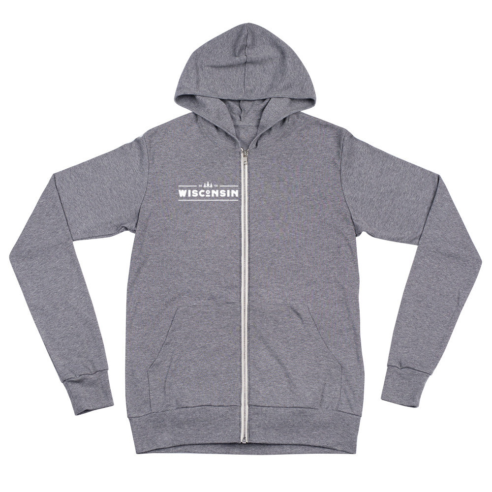 Grey Triblend  zip up Hoodie with 1848 Wisconsin  design in white
