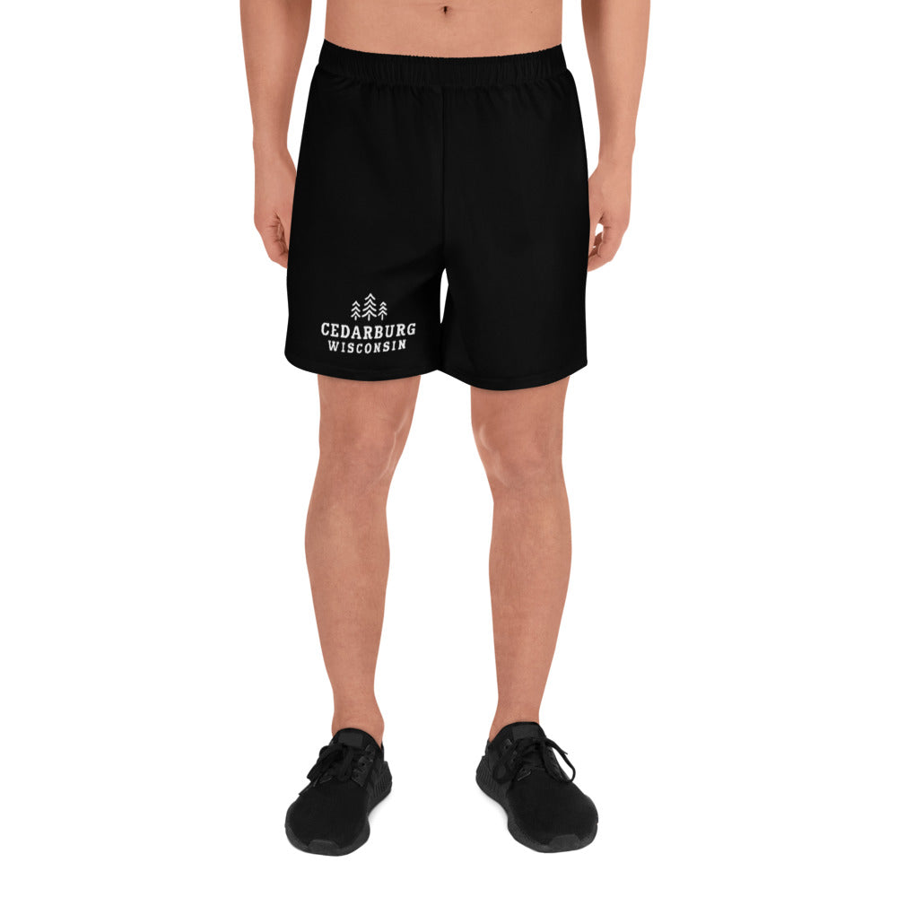 Black Athletic Shortw with white Cedarburg, Wisconsin design