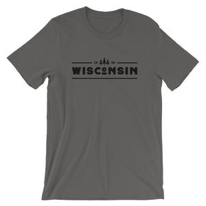 Asphalt short sleeve unisex tee with 1848 Wisconsin design in black