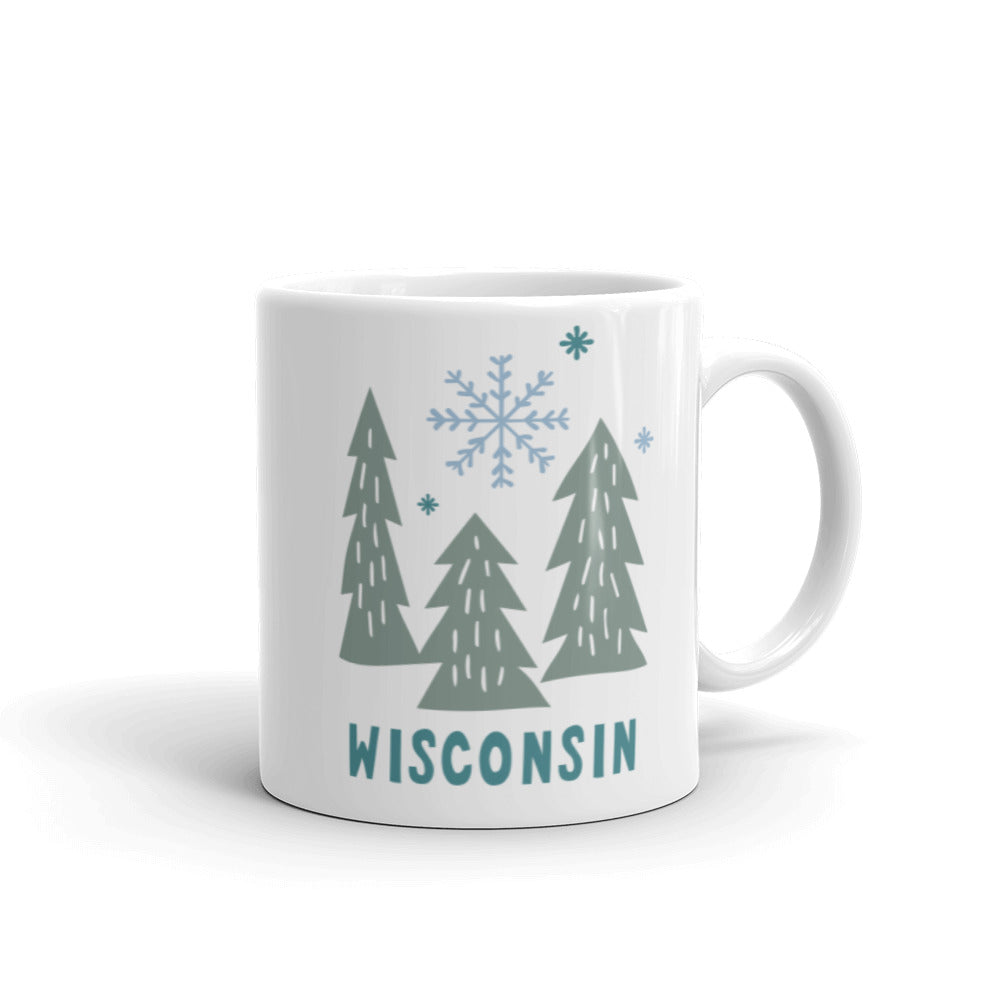 White 11 ounce ceramic mug with Snowy Wisconsin trees green trees