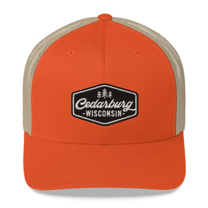 Rustic Orange/Khaki Trucker Style Hat with Vintage Cedarburg Logo in Black