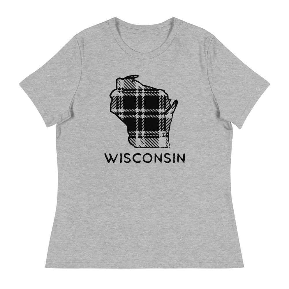 Athletic Heather Short Sleeve women's relaxed fit tee with Black Wisconsin Plaid design