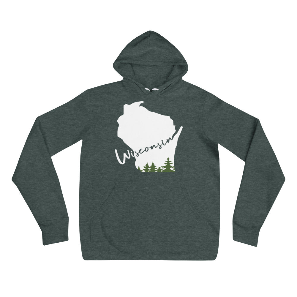 Heather Forest Unisex Hoodie with white Wisconsin Evergreen Script Design