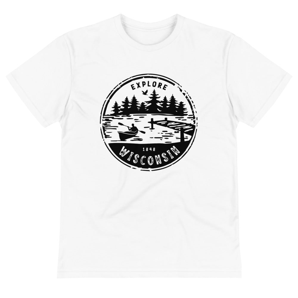 White unisex sustainable t-shirt with the Explore Wisconsin design in black