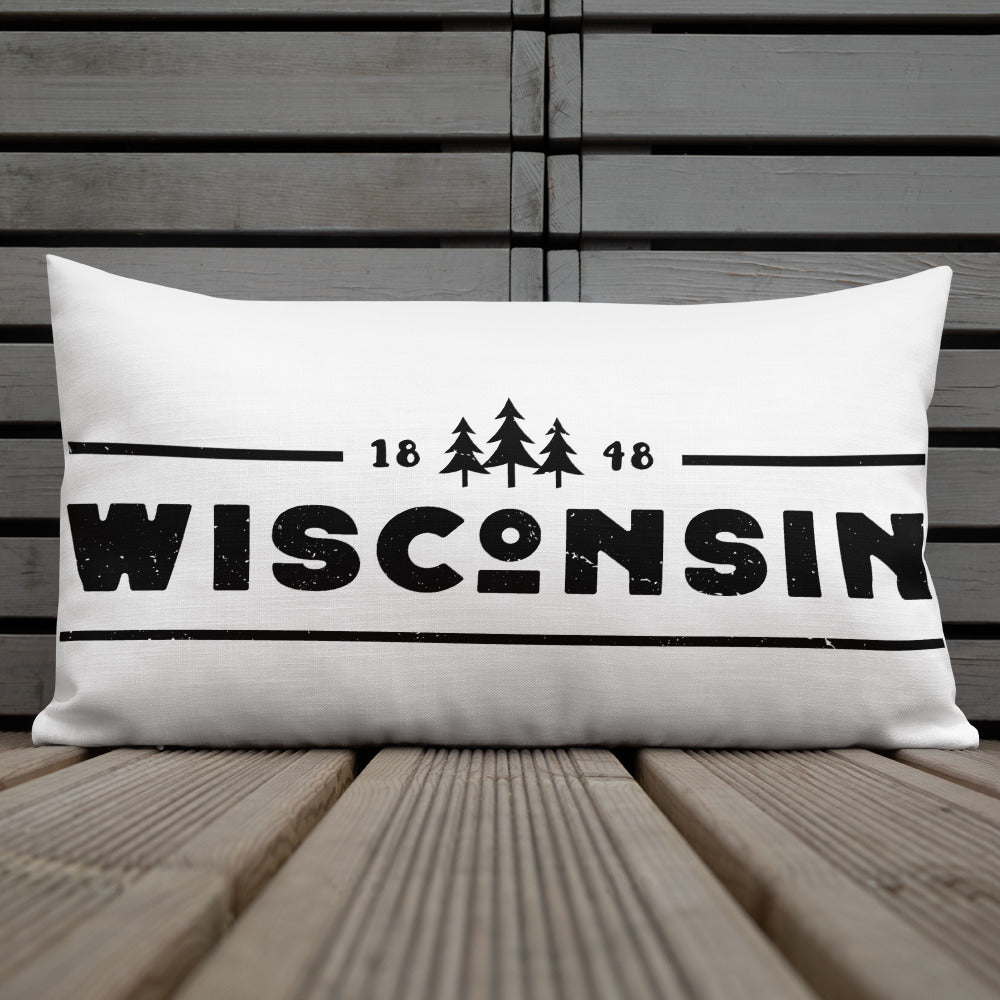20 by 12 inch pillow with Wisconsin 1848 design in black
