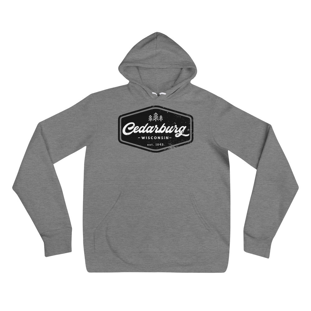 Deep Heather Hoodie with vintage black Cedarburg design