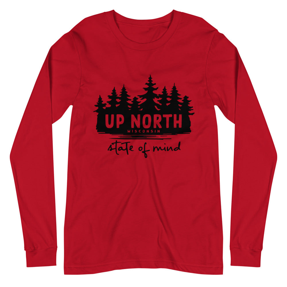 Red Long sleeve unisex t-shirt with Wooded Up North State of Mind design in black