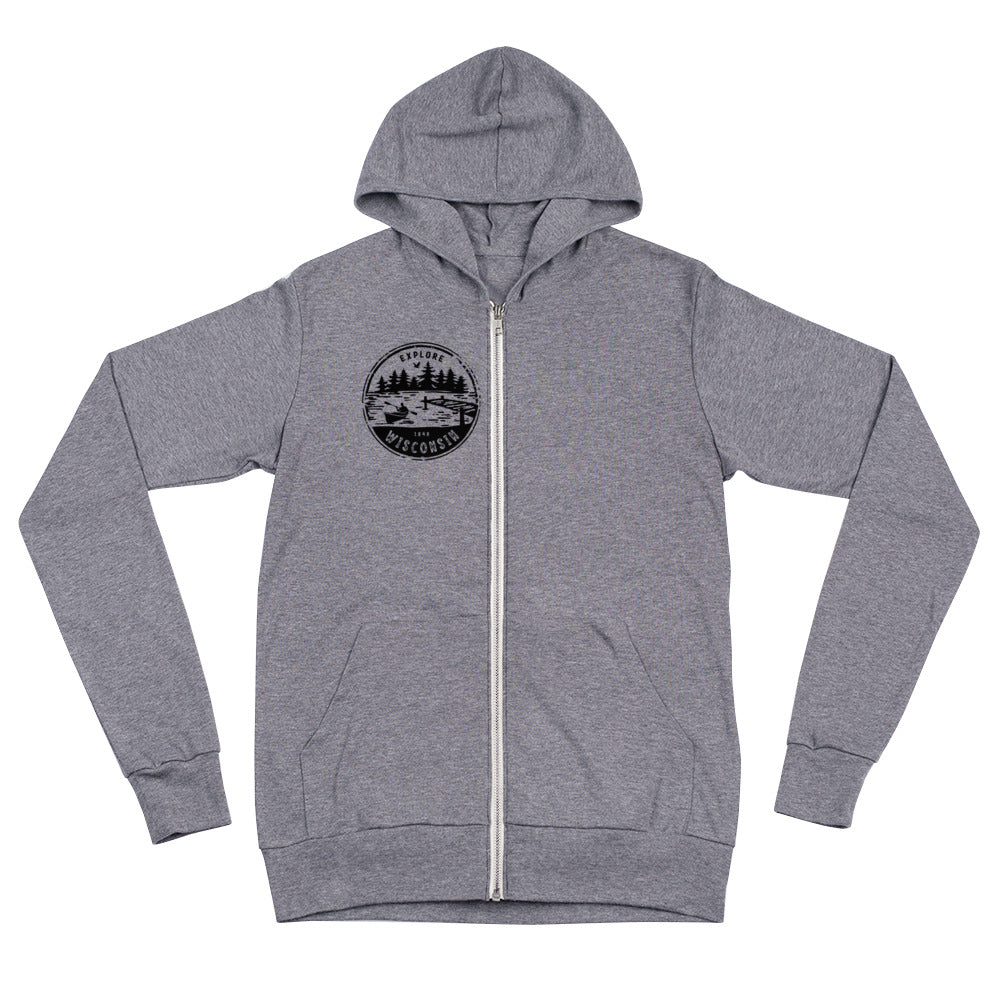 Grey Triblend Lightweight zip Up hoodie with Explore Wisconsin design in black