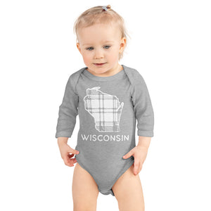 Mock up of athletic heather long sleeve onesie with Wisconsin plaid design in white