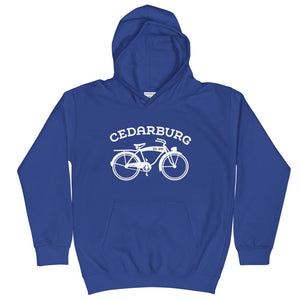 Royal Blue kids hoodie with white vintage Cedarburg bike design