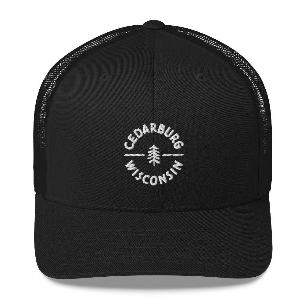 Black Trucker Hat with Circle Cedarburg and tree design in white