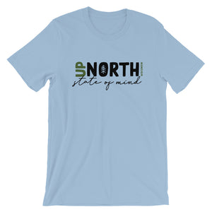 Light Blue unisex short sleeve t-shirt with up North Wisconsin design with script state of mind