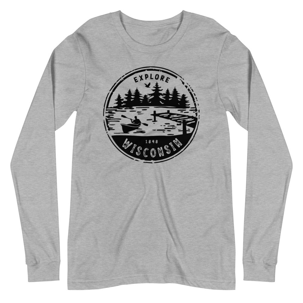 Athletic Heather Unisex Long Sleeve Tee with Explore Wisconsin design in black