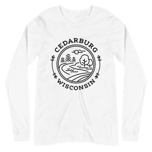 White Long Sleeve Tee with Nature Circle in Black