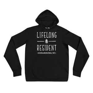Black Hoodie with Lifelong Resident White Design