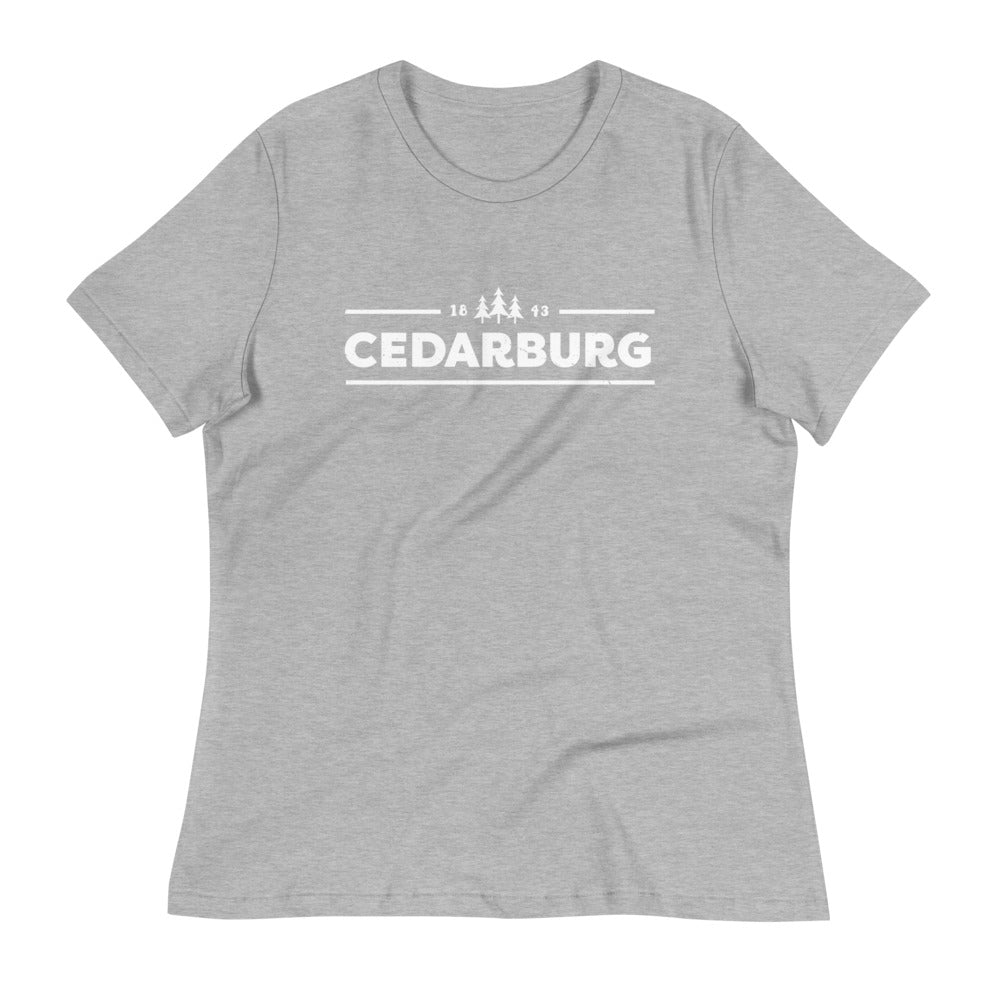 Athletic heather women's relaxed fit tee with white Cedarburg 1843 design