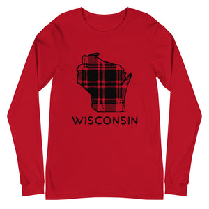 REd long sleeve t-shirt with Wisconsin plaid design in black