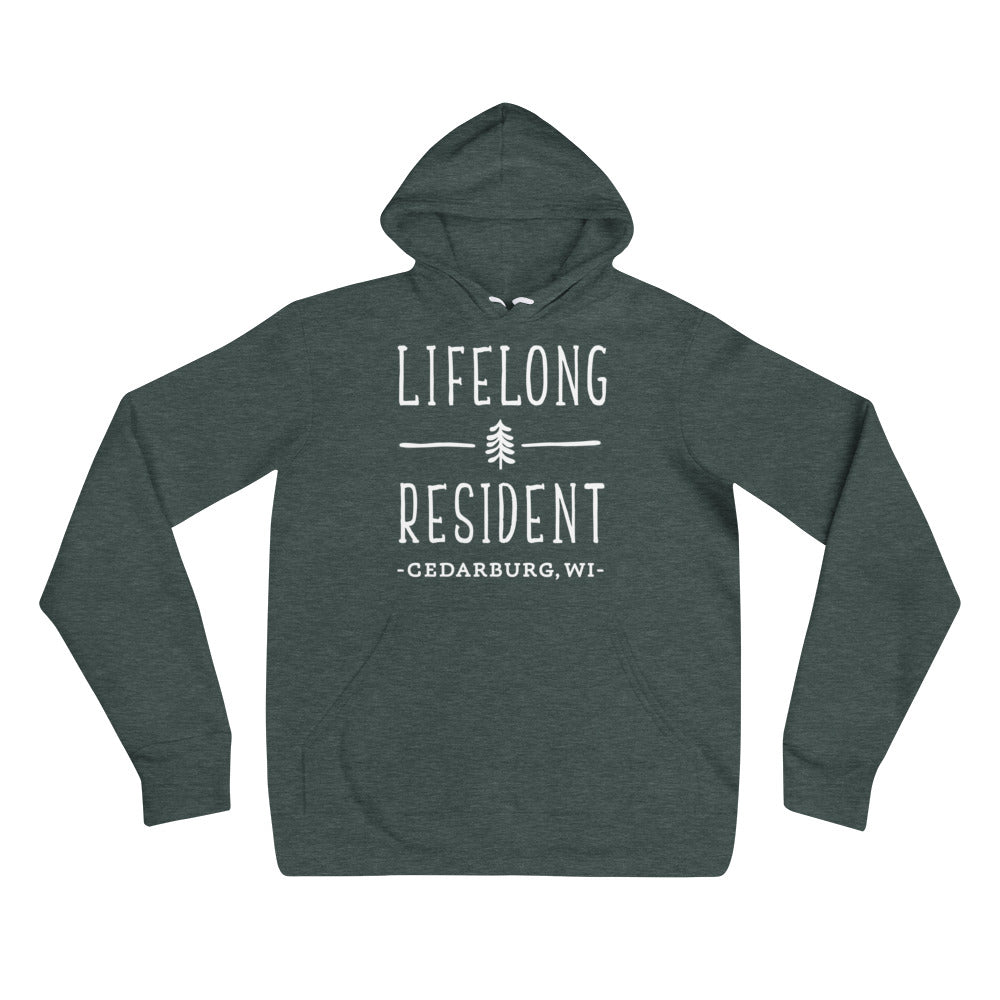 Heather Forest Hoodie with Lifelong Resident White Design