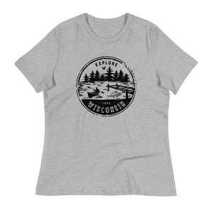 Athletic Heather  Women's Relaxed T-shirt with Explore Wisconsin design in black