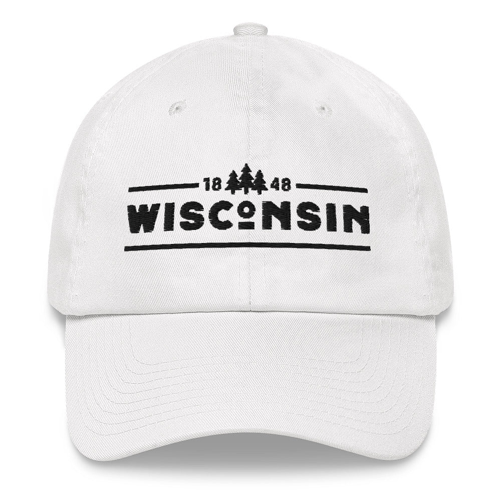White dad hat with 1848 Wisconsin design embroidered in black