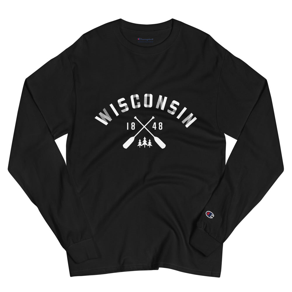 Black long sleeve Champion shirt with plaid Wisconsin paddle design in white