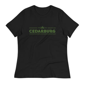 Black women's Relaxed fit t-shirt with green Cedarburg 1843 design