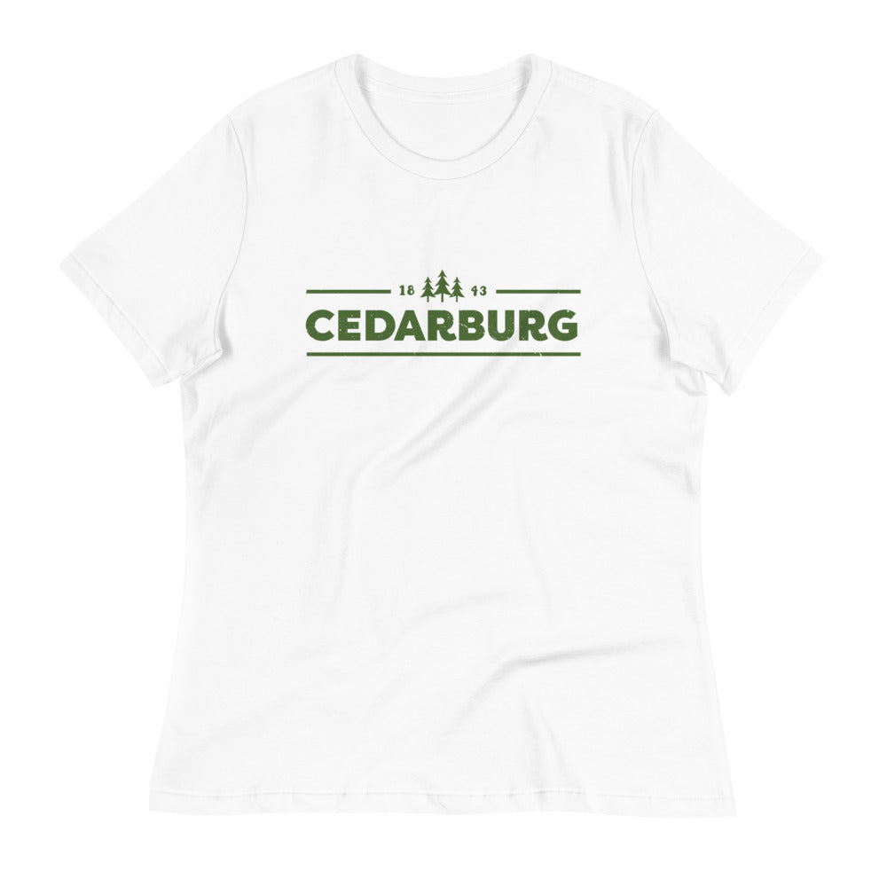 White women's Relaxed fit t-shirt with green Cedarburg 1843 design