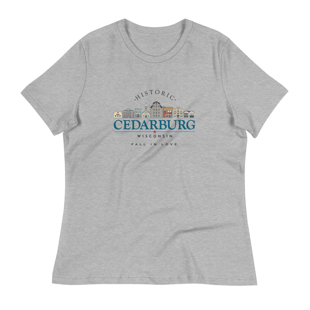 Athletic Heather women's tee with color Downtown Cedarburg design