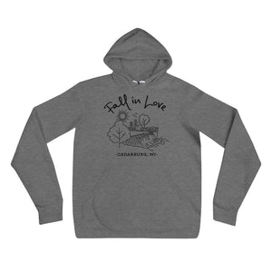 Deep Heather Fall in Love Hoodie with Black Design