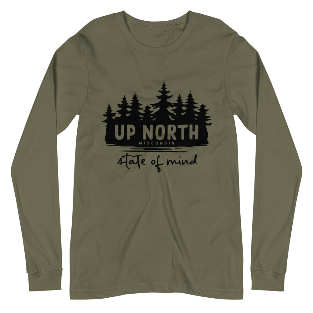 Military Green Long sleeve unisex t-shirt with Wooded Up North State of Mind design in black