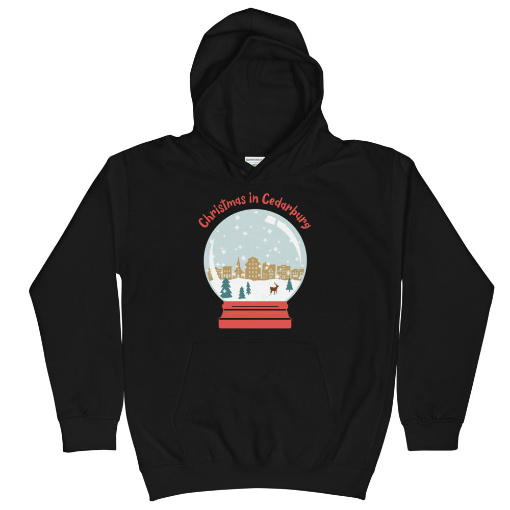Jet Black Kids Hoodie with snow globe Cedarburg design in color