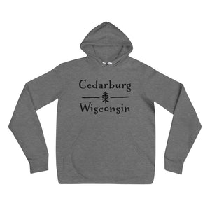 Deep Heather Hoodie with Split Cedarburg logo with tree in black