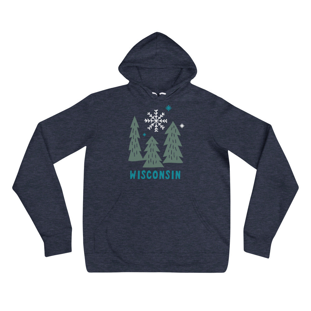 Heather Navy unisex hoodie with deep Green snowy Wisconsin design