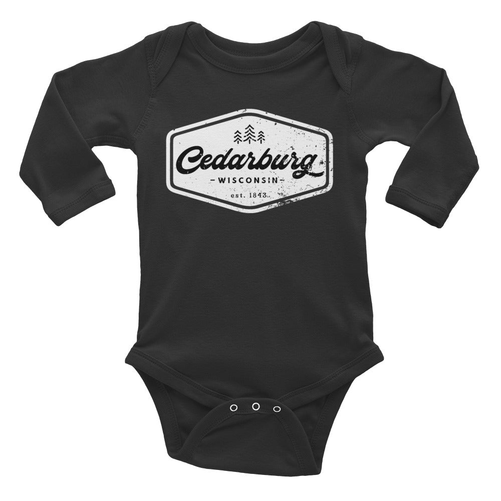 Black long sleeve onesie with White Vintage Cedarburg design