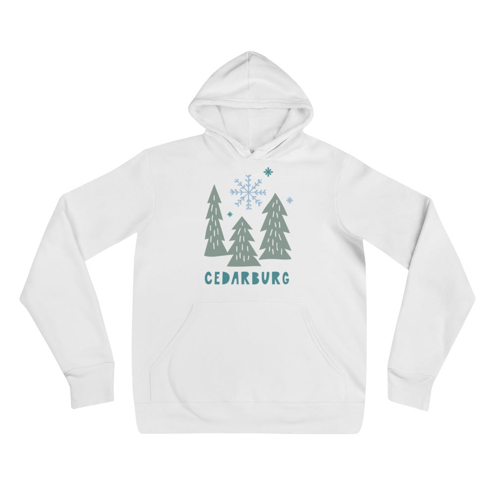 White unisex hoodie with snowy trees and Cedarburg text