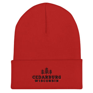 Red Cuffed Beanie with three tree and Cedarburg, Wisconsin embroidered design in black