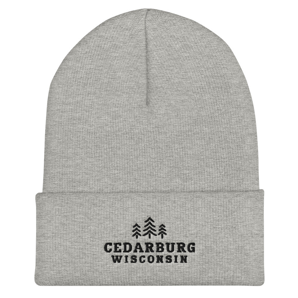 Heather Grey Cuffed Beanie with three tree and Cedarburg, Wisconsin embroidered design in black