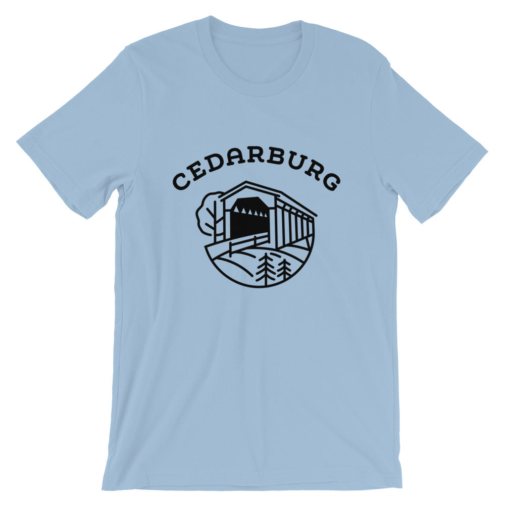 Covered Bridge Cedarburg t-shirt in light blue