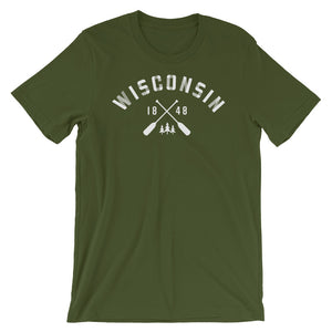 Olive unisex short sleeve tee with Wisconsin paddle design in white