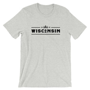 Athletic Heather short sleeve unisex tee with 1848 Wisconsin design in black