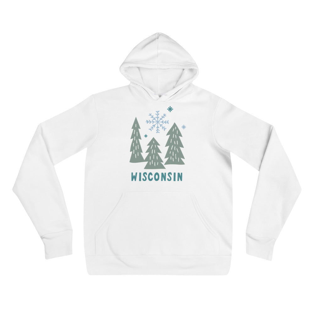 White unisex hoodie with light green snowy Wisconsin design