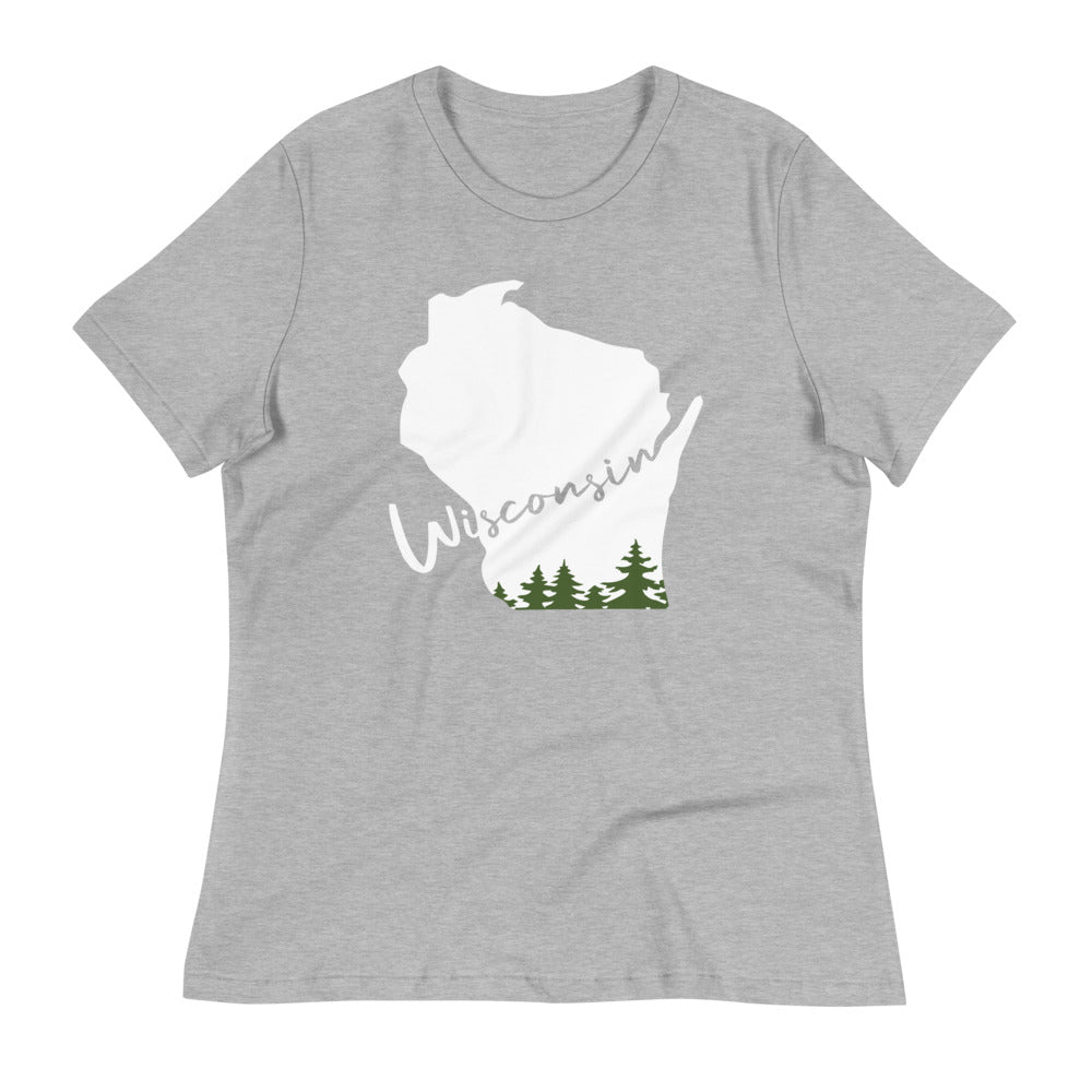 Athletic Heather Women's relaxed tee with white and green Wisconsin evergreen script design