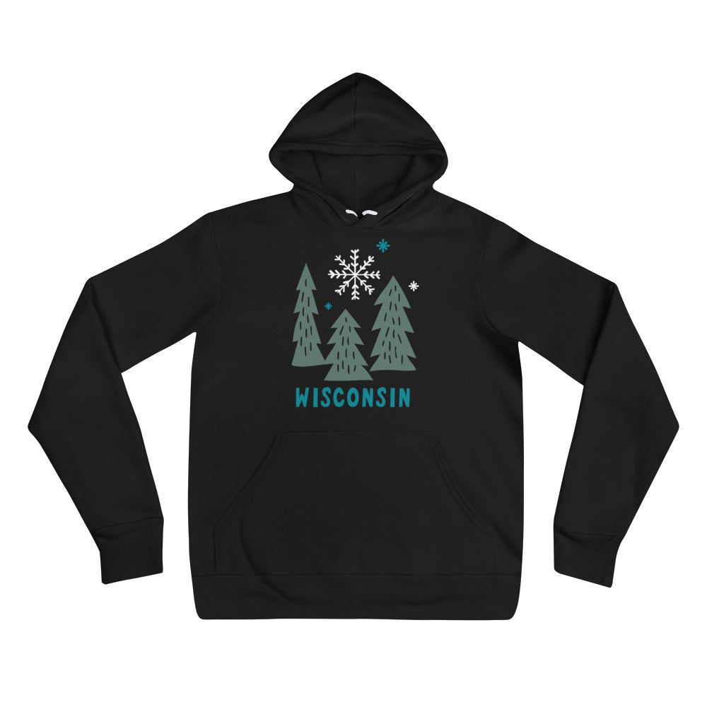 Black unisex hoodie with deep Green snowy Wisconsin design