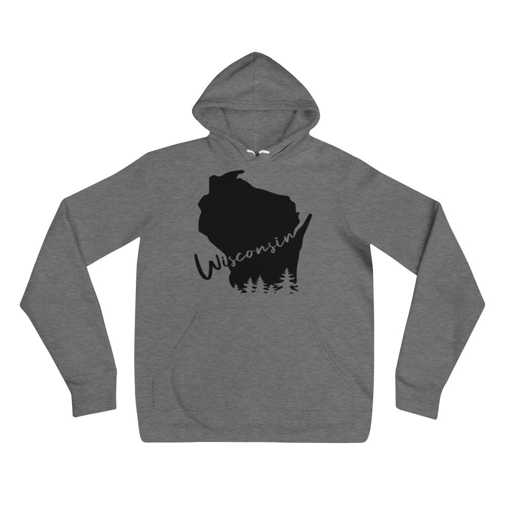 Deep Heather Unisex Hoodie with black Wisconsin Evergreens Design