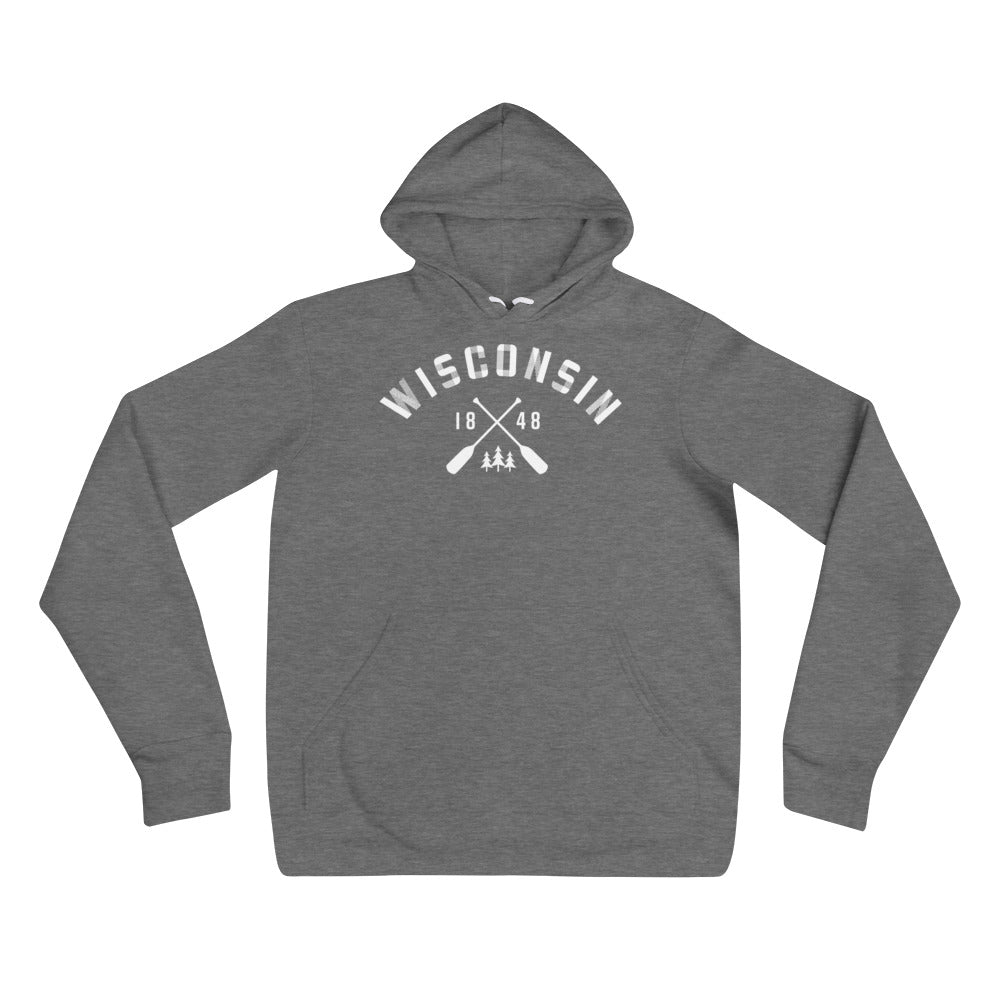 Deep Heather Unisex Hoodie with white Wisconsin Paddle Design