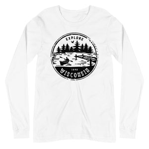 White Unisex Long Sleeve Tee with Explore Wisconsin design in black