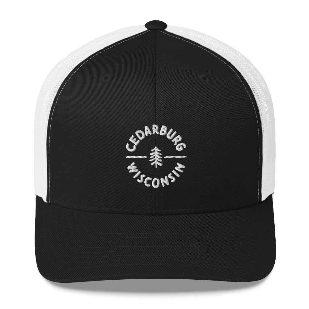 Black and White Trucker Hat with Circle Cedarburg and tree design in white
